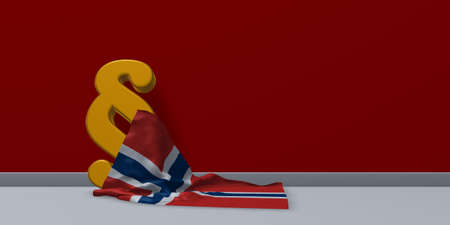 paragraph symbol and flag of norway - 3d rendering