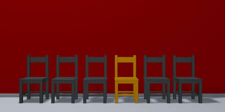 row of chairs, one in gold - 3d illustration Stock Photo
