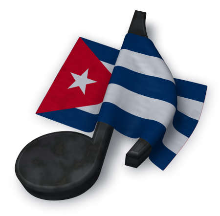 music note symbol and flag of cuba - 3d rendering