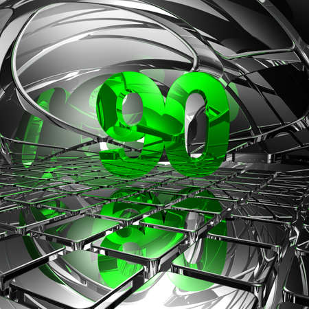 number ninety in abstract mirror space - 3d illustration