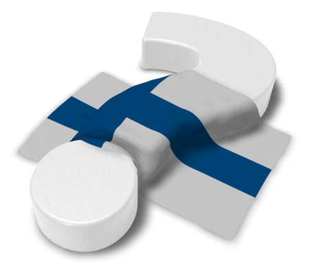 question mark and flag of finland - 3d illustration Stock Photo