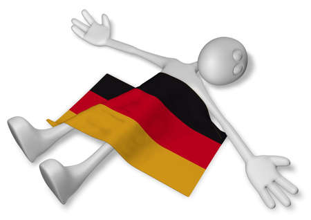 burn out: dead cartoon guy and flag of germany - 3d illustration