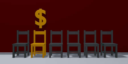 dollar symbol and row of chairs - 3d rendering
