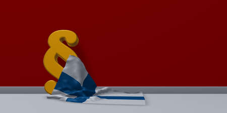 finnish: paragraph symbol and flag of finland - 3d rendering