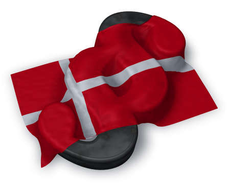 paragraph symbol and danish flag - 3d illustration