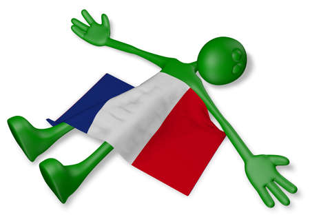 french culture: dead cartoon guy and flag of france - 3d illustration Stock Photo