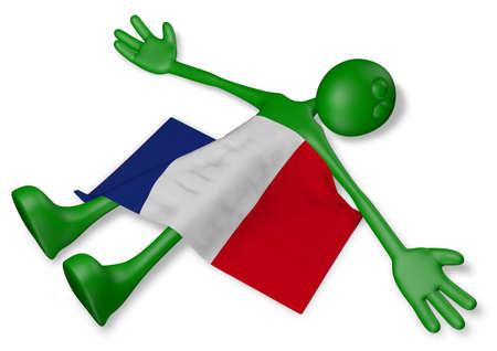 dead cartoon guy and flag of france - 3d illustration Banco de Imagens