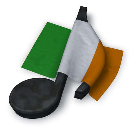 music note and flag of ireland - 3d rendering Stock Photo