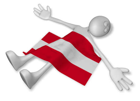 dead cartoon guy and flag of austria - 3d illustration