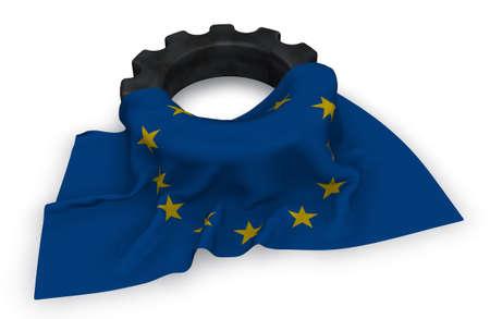歯車と欧州連合-3 d レンダリングの旗