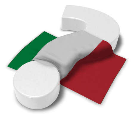 question mark and flag of italy - 3d illustration