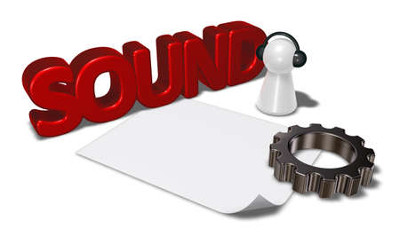 sound tag, gear wheel and pawn with headphones - 3d rendering