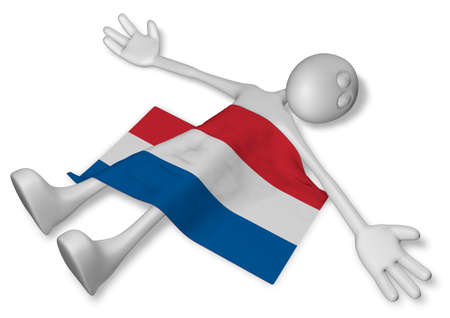 burn out: dead cartoon guy and flag of the netherlands - 3d illustration