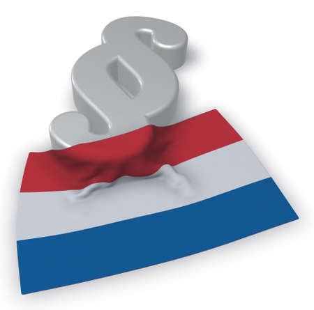 paragraph symbol and dutch flag - 3d illustration Stock Photo