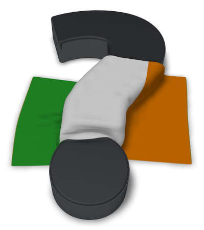 ireland flag: question mark and flag of ireland - 3d illustration Stock Photo