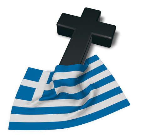 christian cross and flag of greece - 3d rendering