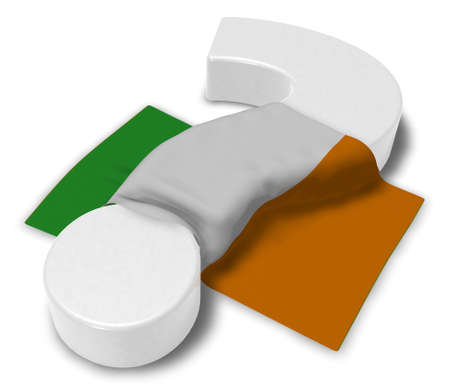 question mark and flag of ireland - 3d illustration Stock Photo