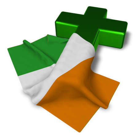 christian cross and flag of ireland - 3d rendering