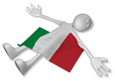 dead cartoon guy and flag of italy - 3d illustration