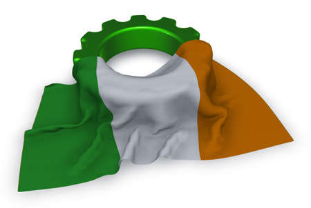 gear wheel and flag of ireland - 3d rendering Stock Photo