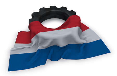 industrial machinery: gear wheel and flag of the netherlands - 3d rendering