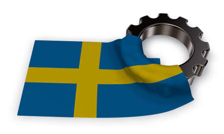 gear wheel and flag of sweden - 3d rendering Stock Photo