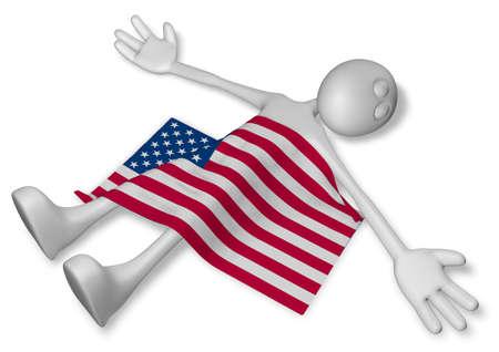 dead cartoon guy and flag of the usa - 3d illustration