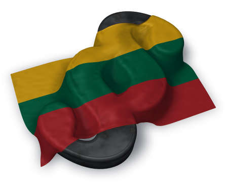 paragraph symbol and flag of Lithuania - 3d rendering