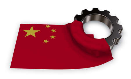gear wheel and flag of china - 3d rendering