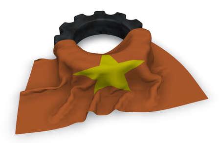 gear wheel and flag of vietnam - 3d rendering