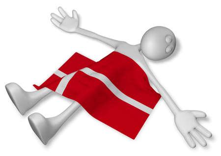 dead cartoon guy and flag of denmark - 3d illustration