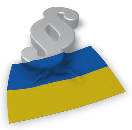 paragraph symbol and flag of the ukraine - 3d rendering Stock Photo