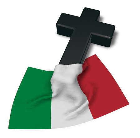 christian cross and flag of italy - 3d rendering
