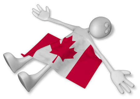 burn out: dead cartoon guy and flag of canada - 3d rendering