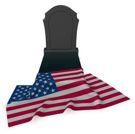 gravestone and flag of the usa - 3d rendering