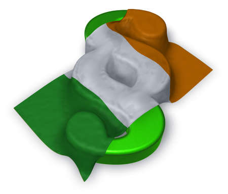 paragraph symbol and irish flag - 3d illustration