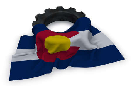 gear wheel and flag of colorado - 3d rendering Stock Photo