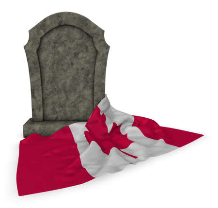 gravestone and flag of canada - 3d rendering Stock Photo