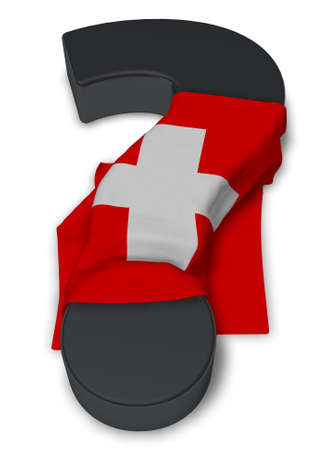 question mark and flag of switzerland - 3d illustration Stock Photo