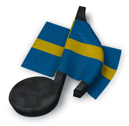 music note and flag of sweden - 3d rendering