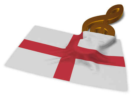clef symbol and english flag - 3d rendering