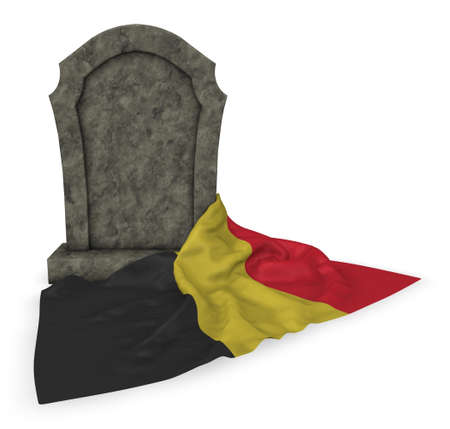 european culture: gravestone and flag of belgium - 3d rendering