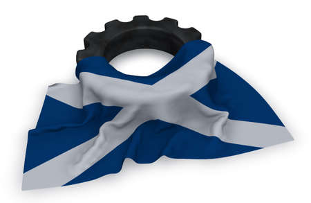 gear wheel and flag of scotland - 3d rendering