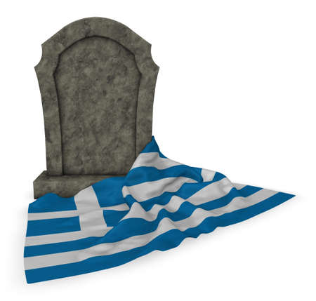 european culture: gravestone and flag of greece - 3d rendering Stock Photo