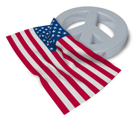 peace symbol and flag of the usa - 3d rendering Stock Photo