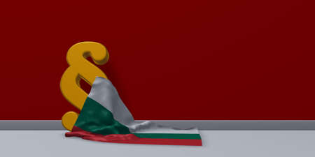 paragraph symbol and flag of bulgaria - 3d rendering Stock Photo