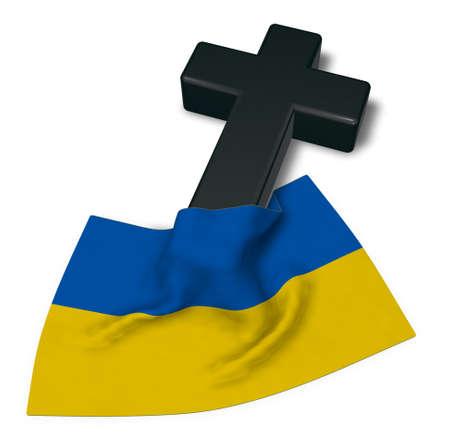 christian cross and flag of the ukraine - 3d rendering