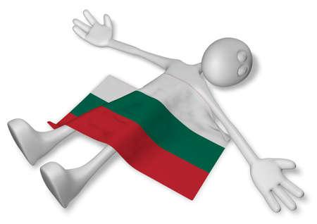 dead cartoon guy and flag of bulgaria - 3d illustration