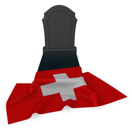 grave stone: gravestone and flag of switzerland - 3d rendering