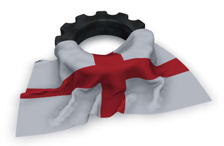 gear wheel and flag of england - 3d rendering Stock Photo